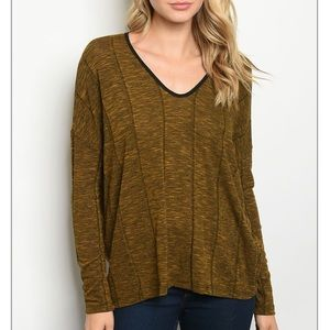 💫Gold and black marbled basic long sleeve top
